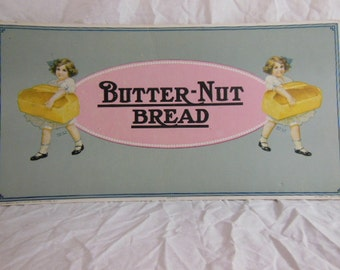 1924 Butternut Bread Trolley Street Car Cardboard Sign Schulze Chicago