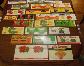 Labels for Canned Food - Unused - Large Assortment - Vintage - Decoupage Material