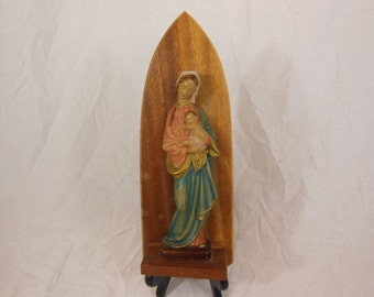 Mary and Jesus wall statue