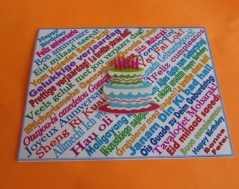 Many Languages Happy Birthday Card with celebrate and cheers in different languages inside.