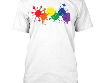 LGBT Gay Pride Shirt - Rainbow Flag Paint Splatter