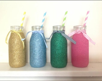 Glitter milk bottles with straw