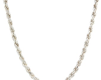 Estate 925 Silver Rope Chain 22 Inch Lobster Claw Clasp Jewelry