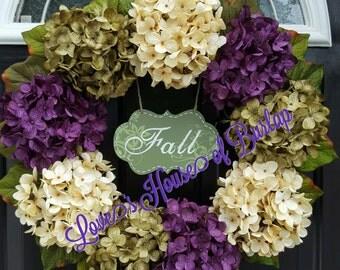 Fall Wreath, Hydrangea wreath, Fall Decor, Flower wreath, Front door wreath, Year round wreath, Mother's Day wreath