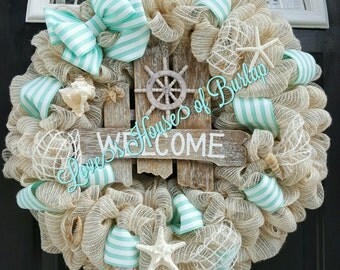 Beach wreath, Nautical wreath, Seashell wreath, Welcome wreath, Mesh wreath, Front door wreath, Beach decor, Beach living decor