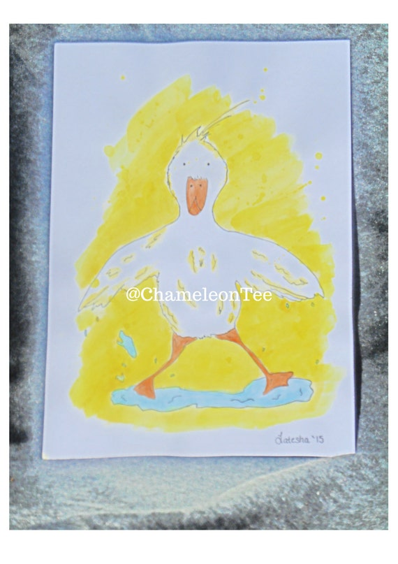 Children's Ink Illustration Print in watercolour ducks Size A4( 8.3 X 11.7 IN)