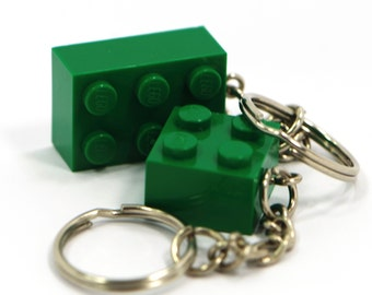 Green Lego Brick Keychain / Keyring For Kids On A Stainless Steel Chain - New Lego Brick Upcycled