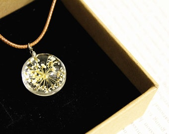 Queen Anne's Lace Resin Pendant Necklace Sphere - Pressed Flowers encased in Resin Orb, Handmade Jewelry