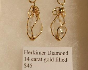 Herkimer Diamond 14kt Gold Filled Wire Dangle Earrings