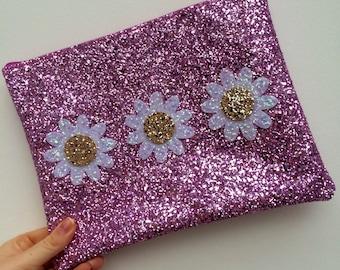 Limited Edition Powder Pink Glitter Daisy Clutch Bag