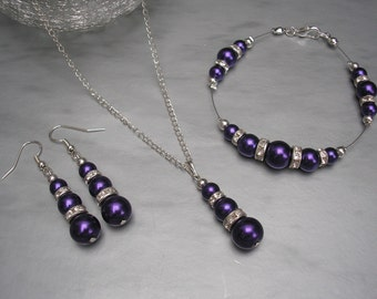 Susan ~ Cadburys Purple Pearl and Diamante Necklace Bracelet & Earrings Jewellery Set