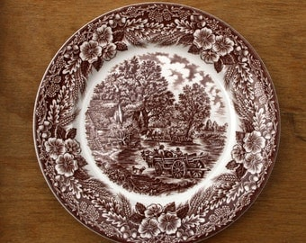 Broadhurst   Constable Series   The Hay Wain   Brown and White Dinner or Display plate   9.75 inches   Excellent