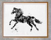 Black Horse watercolor print, horse illustration, wild horse poster, animals art, abstract horse print, wall art home decor [NO 23]