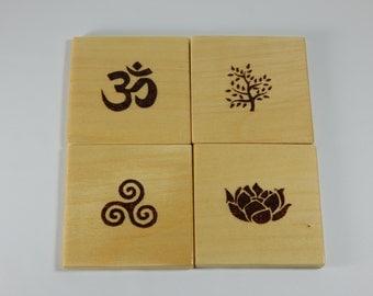 Hand made Coaster Pyrography, Wood burn Meditation set of 4