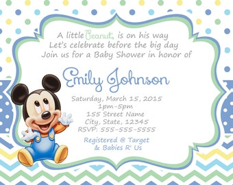 Mickey Mouse Baby Shower Invitations / Baby Mickey shower invitation / Baby Mickey Mouse