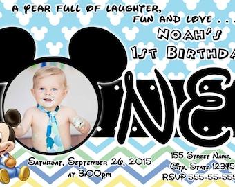 Mickey First Birthday Invitations /  Mickey Invitation / Mickey Mouse First Birthday / Mickey Mouse / First Birthday