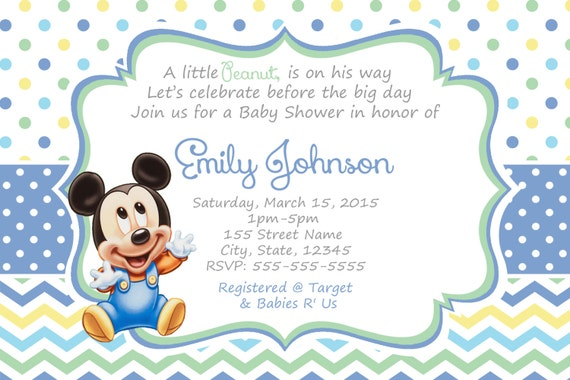 mickey mouse baby shower invitations baby mickey shower invitation