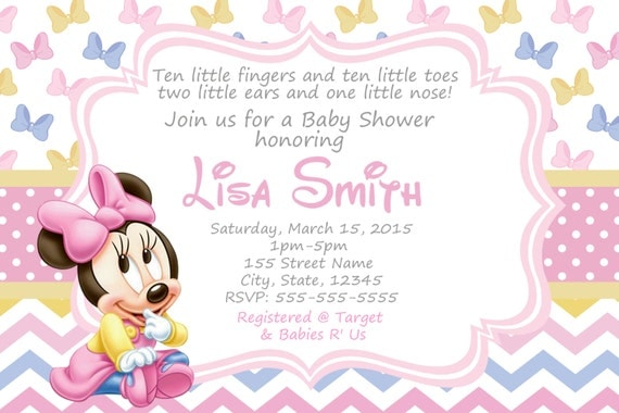 baby shower invitation baby minnie mouse baby minnie shower baby