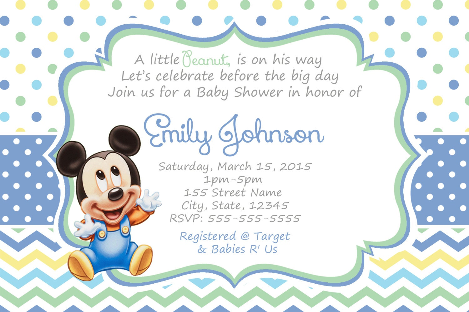 Mickey Mouse Baby Shower Invitations / Baby Mickey shower