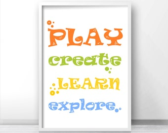 Playroom Decor, Printable Kids Wall Art,  Childrens Art Print, Play, Create, Learn,  Playroom Print,  Instant Download Kids Art, Kids Prints
