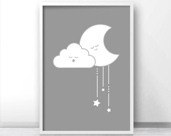 Gray Nursery Wall Art, Gender Neutral Baby Wall Art Printables, Cloud Nursery Print, Baby Art, Moon And Stars Nursery Art, Nursery Decor
