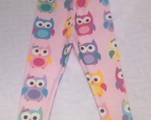 Oh So Cute Owls, Girly Pink Owls, Organic Owl Leggings