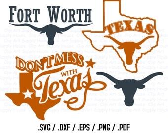 Texas, State Outline, State Decor, Longhorns, SVG Files, DXF Files, Vector Art, Cricut Design Space, Silhouette Digital Cut Files - CA210