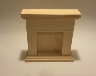 """Unfinished Doll Furniture- wooden fireplace- great for 10-12"""" dolls"""