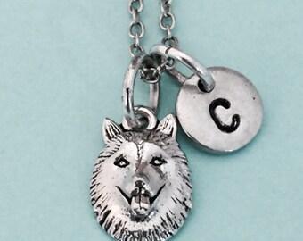Wolf head necklace, wolf head charm, animal necklace, personalized necklace, initial necklace, initial charm, monogram