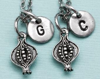 Best friend necklace, pomegranate necklace, food necklace, bff necklace, sister, friendship, personalized necklace, initial, monogram
