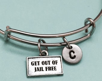 Get out of jail free card bangle, get out of jail free card charm bracelet, expandable bangle, charm bangle, personalized, initial, monogram