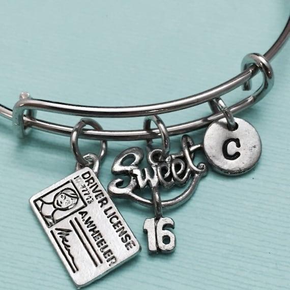 Sweet 16 Charm Bracelet: Sweet 16 Bangle Sweet 16 Charm Bracelet Expandable Bangle