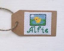 Personalised Name and Duck Cross Stitch Gift Tag - Farmyard Animal Birthday Childrens Party - Gift Wrap - Birthday Gift Tag Present Label