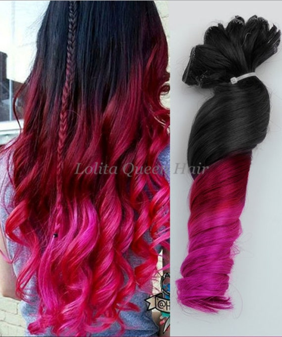 Pink Hair Extensions Black to Red Ombre by LolitaQueenHair ...