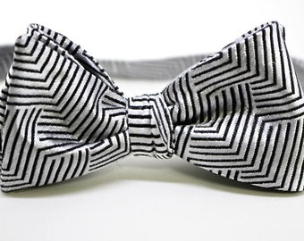 Silver and Black Silk Bow Tie