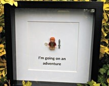 Bilbo Baggins, Brick Figure Art, Going on an Adventure, LOTR, Lord of the Rings, The Hobbit, Nerdy Gift for Him, Office Decor, Birthday Idea