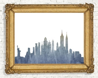 New York City Skyline Print - Watercolor Cityscape Wall Art- Office Wall Decor - World Cities - Digital Artwork