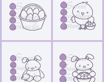 PYO Easter Friends Cookie Stencils (4 separate stencils)