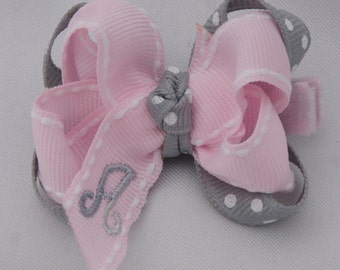 Sweet Silver Lining Monogrammed Baby Hair Bow