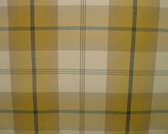 Balmoral Mustard Wool Effect Washable Thick Tartan Plaid Upholstery & Curtain Designer Fabric