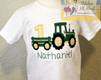 Toddler Boys Personalized Birthday Tee- Birthday Tractor Shirt- Tractor Number Shirt- Baby Boys -Boys Birthday Shirt- 12m, 18m, 2t, 3t,4t,5t