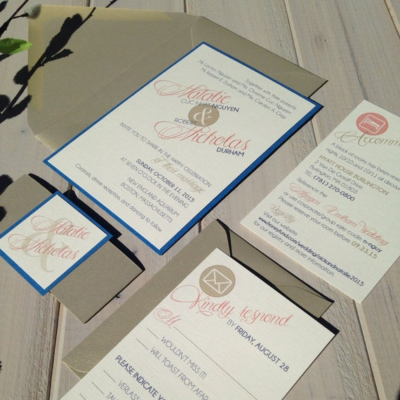 Royal blue and coral wedding invitations by for Royal blue and coral wedding invitations