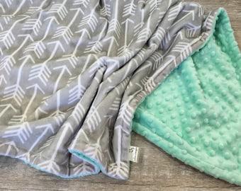 Arrows Baby Blanket, Gender Neutral Baby Gift, Minky Baby Blanket, Tribal Nursery Blanket