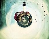 Lighthouse - Cape Elizabeth, Portland Head Light, birds, tiny planet, metallic photo