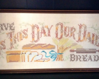 Cross Stitch Sampler Give Us This Day Our Daily Bread 1940 s