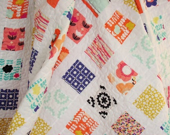 Twin Quilt / Twin Size Quilt / Bed Quilt / Patchwork Quilt / Twin Blanket / Full Quilt / Twin Bedding / Modern Quilt