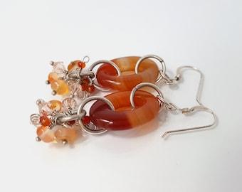 Gemstone chandelier earrings-carnelian-chandelier earrings-sterling silver