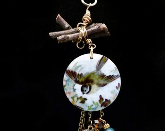 Porcelain  Bird and Twig Necklace, N0508