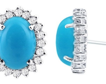 14k White Gold Turquoise and Diamond Studs