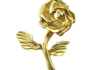 14K Yellow Gold Blooming Rose Flower Charm With Bright Cuts